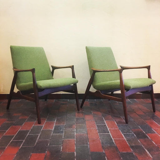 Green + Walnut Midcentury Chair