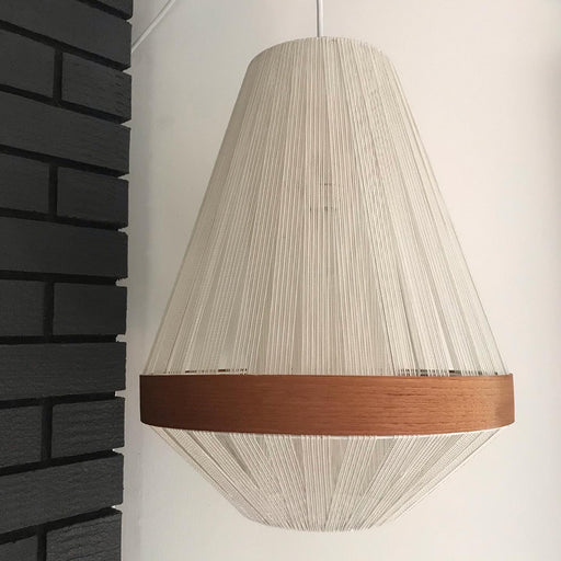 SOLD • Teak String Swag Lamp