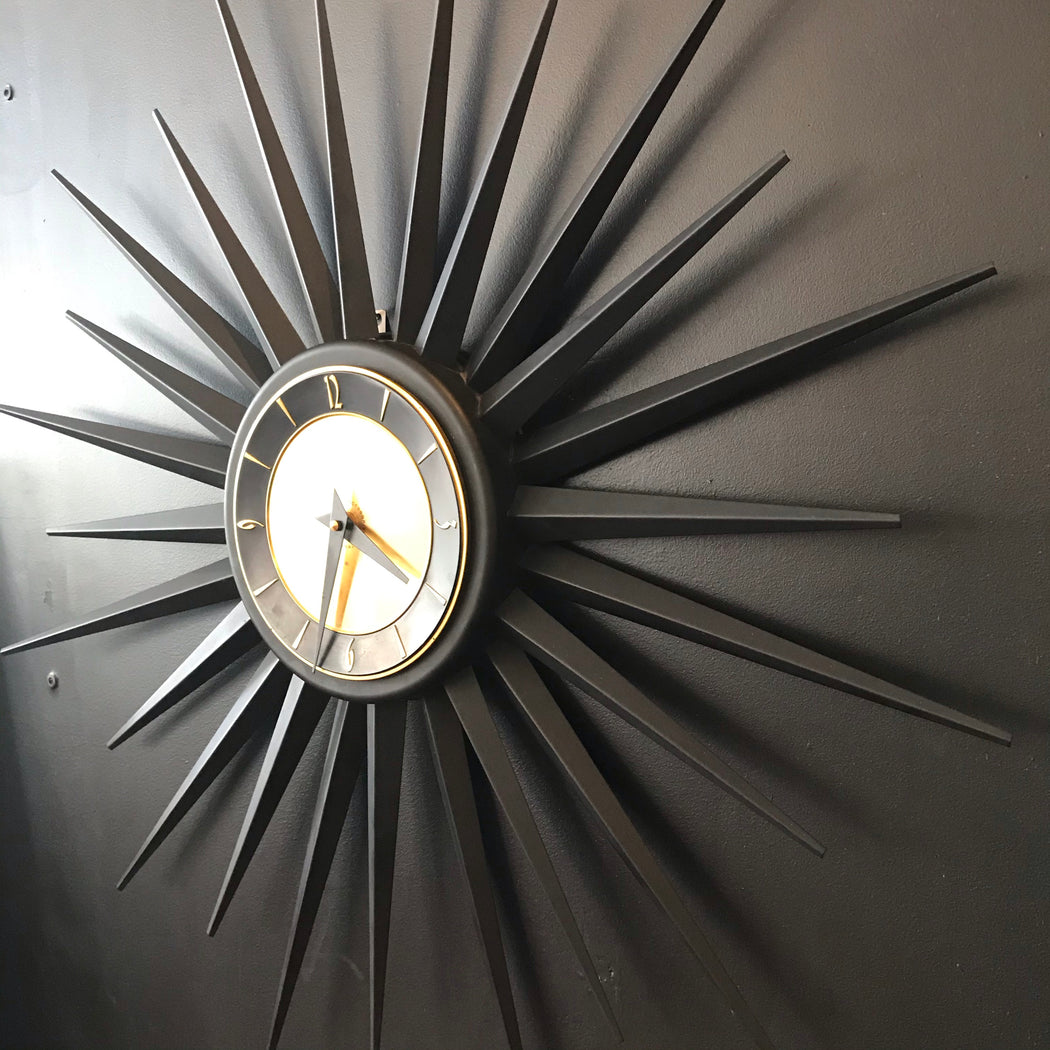 Black + Gold Starburst Clock