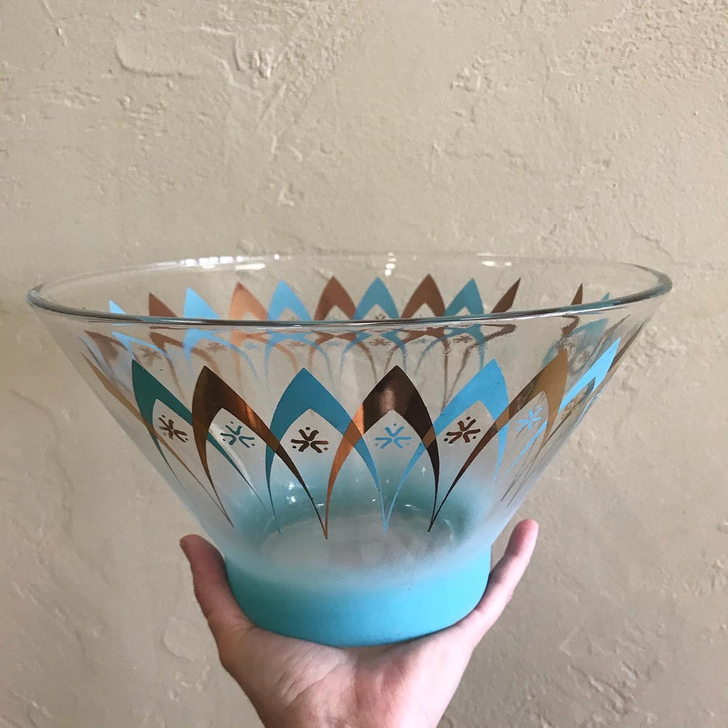 Turquoise + Gold Chip Bowl