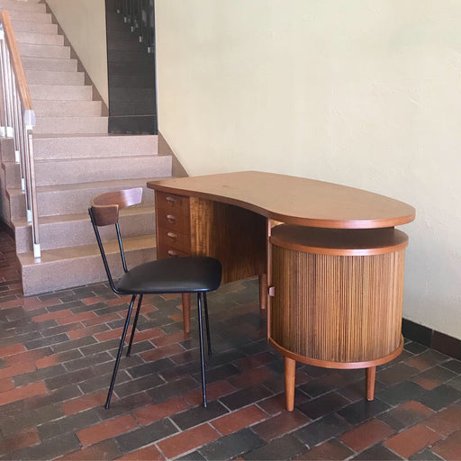 Sold • Kai Kristiansen Teak Desk With Bar Cabinet