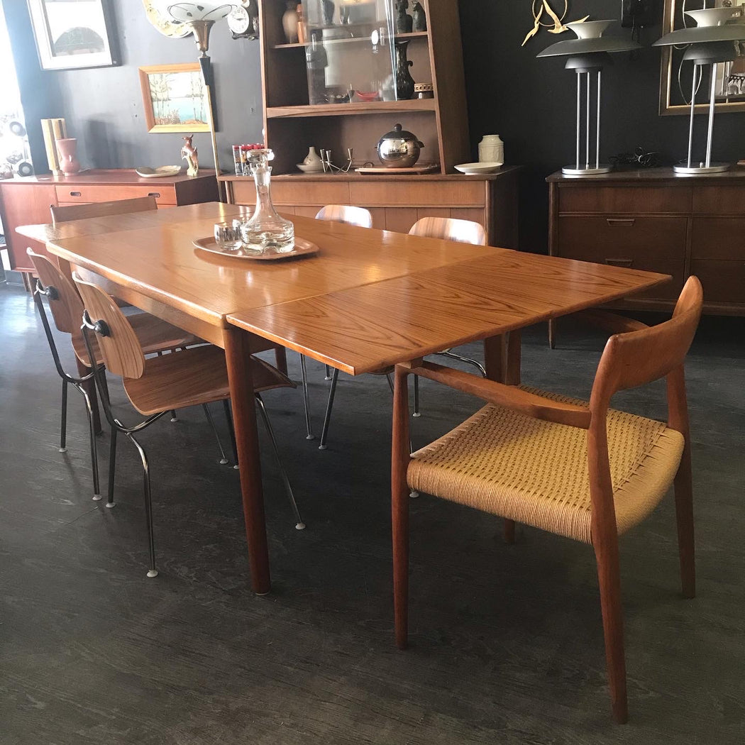 Teak Dining Table with Slide Out Leaves