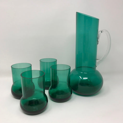 Midcentury Green Glass Cocktail Set