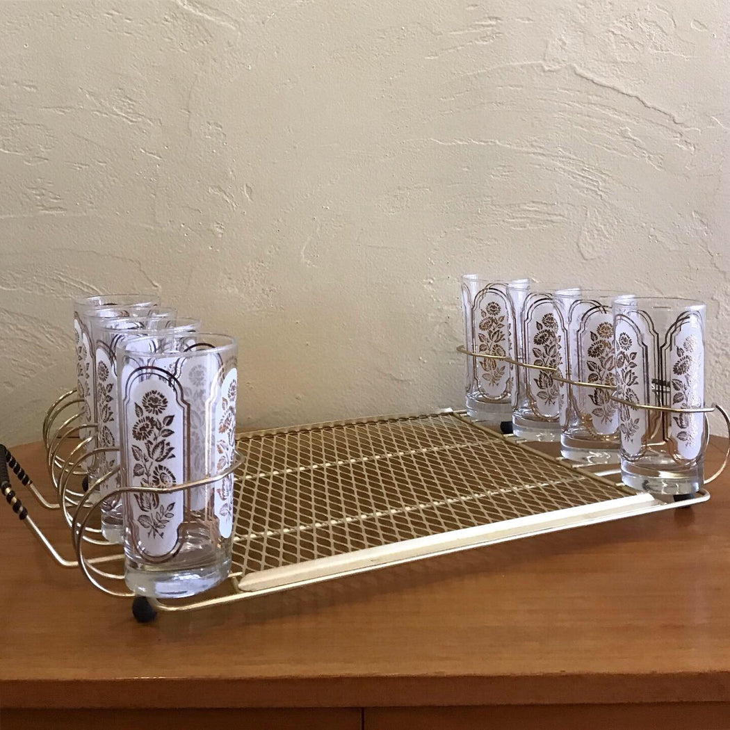 Brass Tray with Glasses