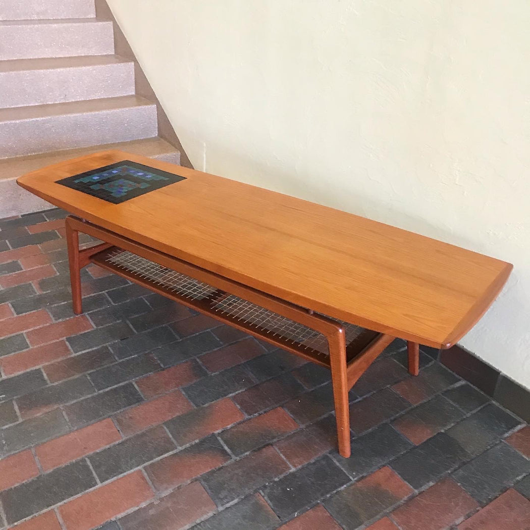 Hovmand Olsen Teak Surfboard Coffee Table with Tile Mosaic