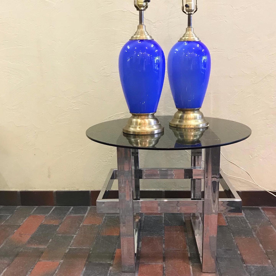 Murano Cobalt Blue Glass + Brass Lamps