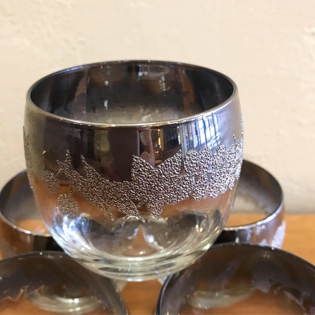 Silver Lustre Roly Poly Glasses