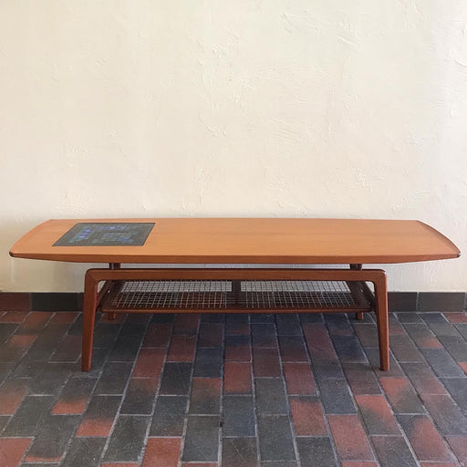 SOLD • Hovmand Olsen Teak Surfboard Coffee Table with Tile Mosaic