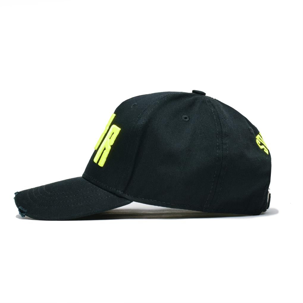 ICONIC NOIR DISTRESSED TRUCKER | BLACK YELLOW