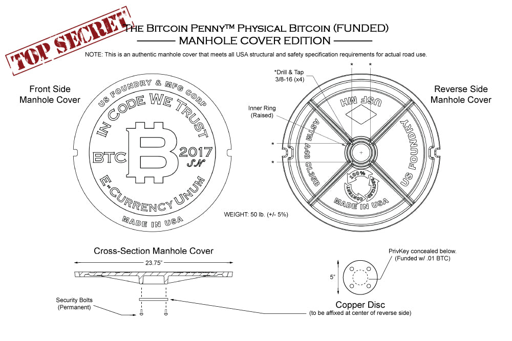 top secret plans manhole cover physical bitcoin