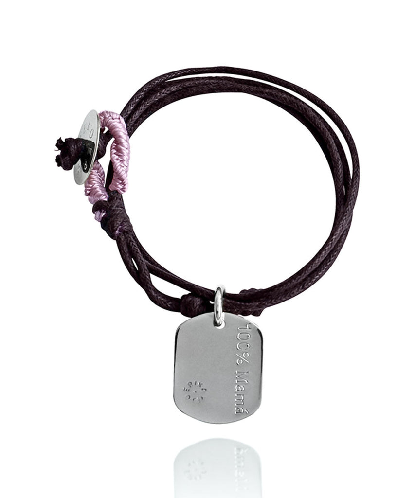 Pulsera doble lisa 100% mamá blanco