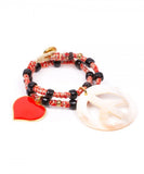 Pulsera Doble Vuelta Paz y Amor Red