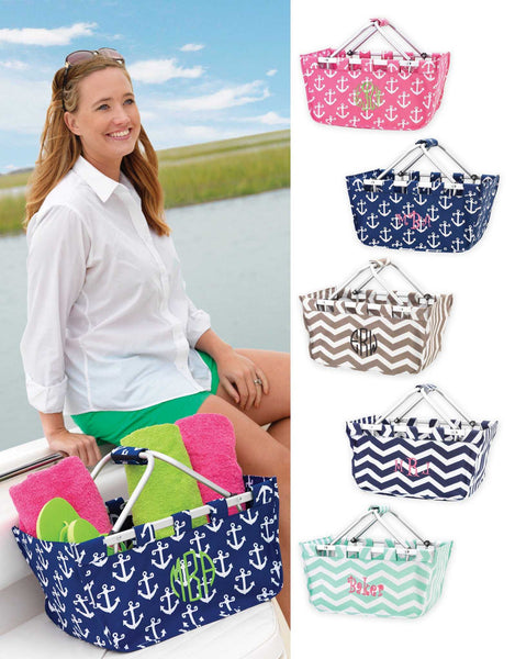 Mint Market Tote with embroidered monogram or name
