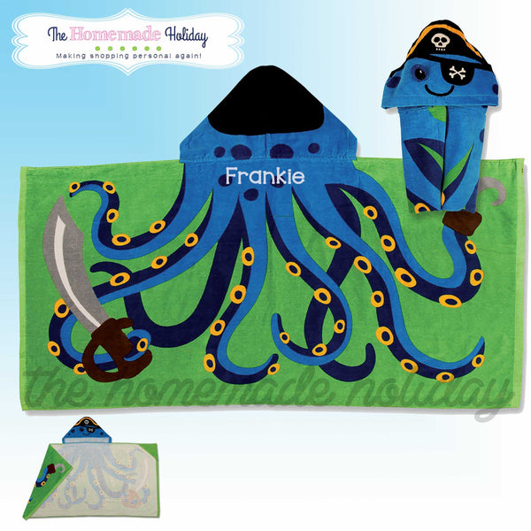 Stephen Joseph Embroidered Hooded Octopus Pirate Towel