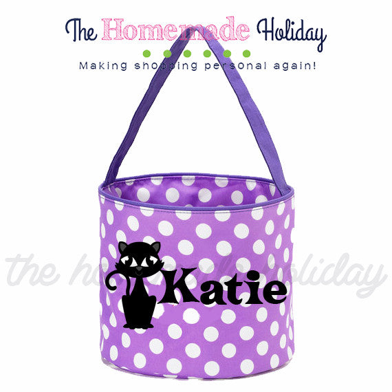 Personalized Black Cat Trick or Treat Halloween Bags