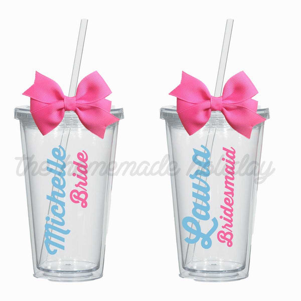 Bridal party title and name Tumbler