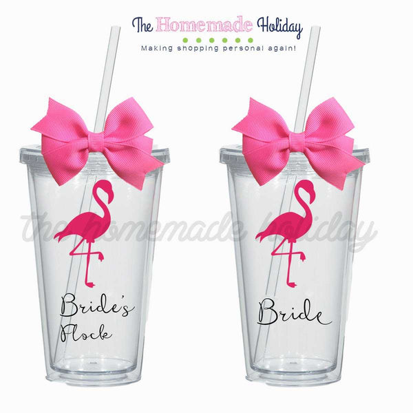 Bride's Flock Flamingo tumblers