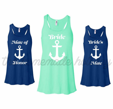 Bride's Mates Natical Tank Tops with Anchor
