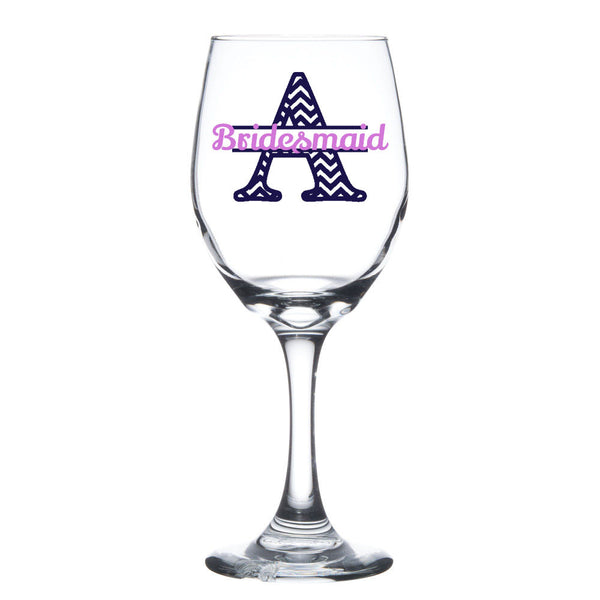 Chevron split letter bridesmaid wine glass