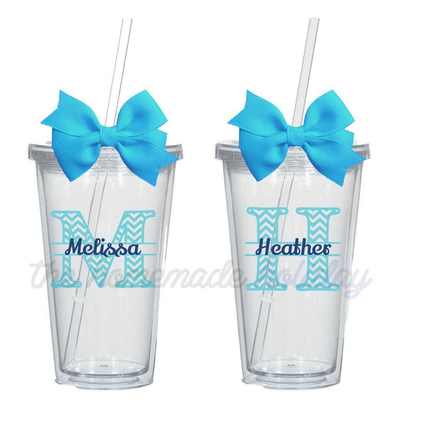 Personalized Chevron Letter and Name Tumbler