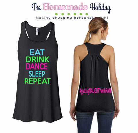 Eat Drink Dance Sleep Repeat Bachelorette Tank Top with custom hashtag