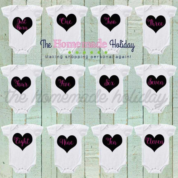 Decorative hearts Baby Monthly Onesies