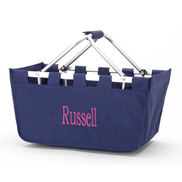 Navy Market Tote with embroidered monogram or name