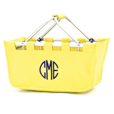 Yellow Market Tote with embroidered monogram or name