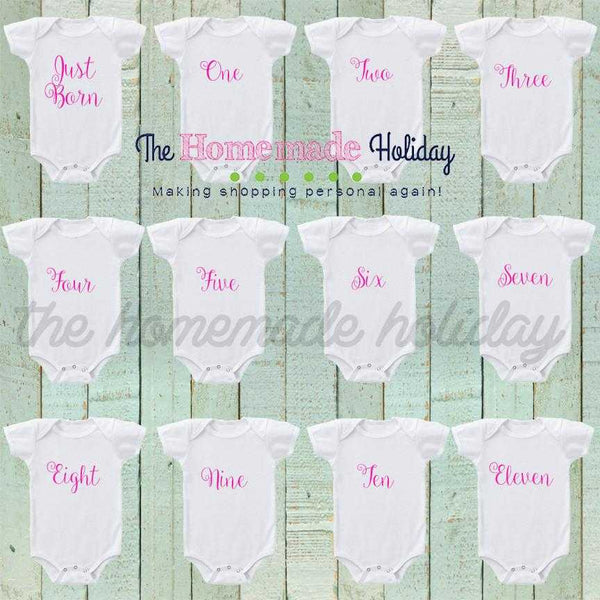 Curly Font Baby Girl Monthly Onesies