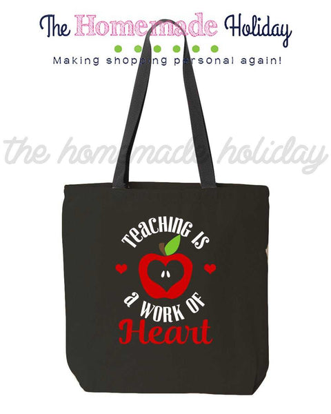 Teaching is a work of heart canvas tote bag