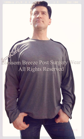 Men's Blossom Breeze Post Surgery Wear ~ Easy On and Off  | Grey Crewneck Long Sleeve Shirt