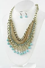 Metal Sheet with Turqupise Balls Necklace Set - The Best Accessory