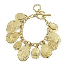 Crystal Accented Multi Charm Toggle Bracelet - The Best Accessory