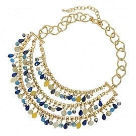 Multi Tone Crystal Drop 3 Strand  Blue - The Best Accessory