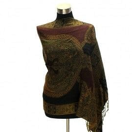 Big Paisley Pashmina - Blk /Gold/ Burgundy - The Best Accessory