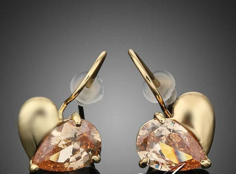 Gold and Amber Heart Shaped Drop Earrings - The Best Accessory  - 1