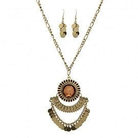 Vintage Sunburst Motif Disc Layer Drop Necklace Set - The Best Accessory