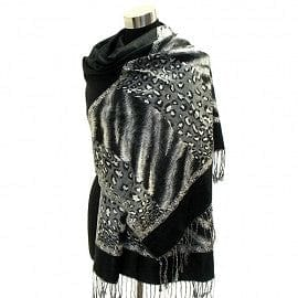 Multi Animal Pattern Sided Pashmina - Blk - The Best Accessory