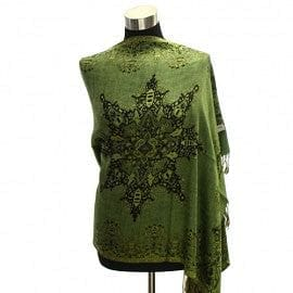 Abstract Flower Design Reversible Pashmina Green - The Best Accessory