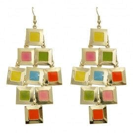 Square Disk Color Drop Earring - The Best Accessory  - 1