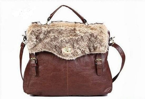 Large Messenger Handbag with Fur - The Best Accessory