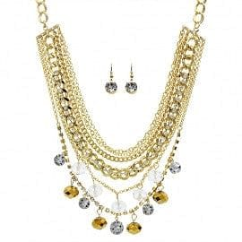 Crystal Drop Multi Chain Layer Necklace Set - The Best Accessory