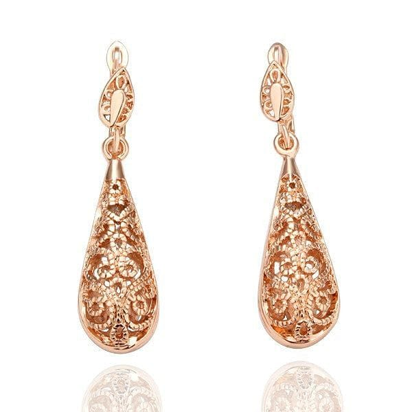 Exotic Rose Gold Drop Earrings - The Best Accessory