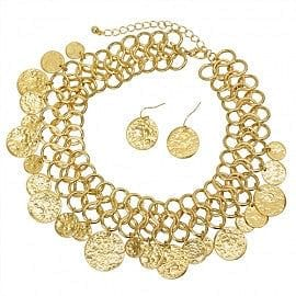 "Hammered Multi Disc on ""O"" Ring Necklace Set - The Best Accessory"