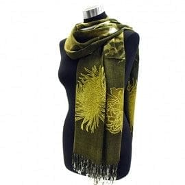 SunFlower over Splash Print Light Weight Pashmina - Green - The Best Accessory