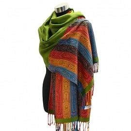 Multi Color Striped Paisley Pattern Pashmina - Green - The Best Accessory