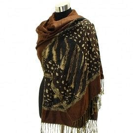Multi Animal Pattern Sided Pashmina - Bwn - The Best Accessory