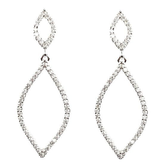 Glass Rhinestone  Rhombus 2 Diamond Dangle Earring - The Best Accessory