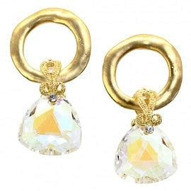 Trillion Cut Crystal Drop w/Hammered Gold Circle Hoop Earring - The Best Accessory