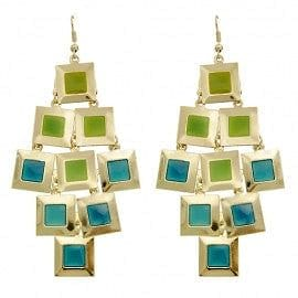 Square Disk Color Drop Earring - The Best Accessory  - 3